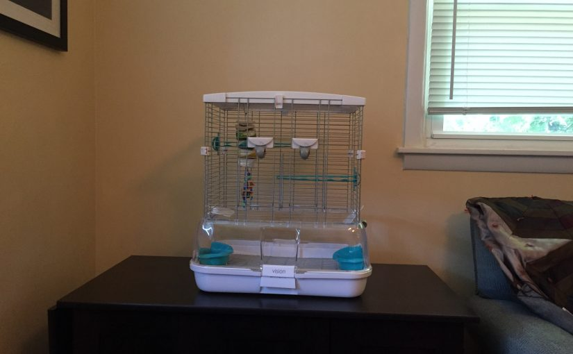 small Vision cage quarantine cage for our new parakeet