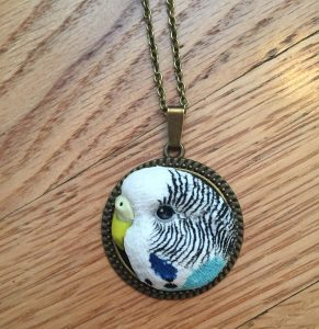 budgie gifts - a custom necklace of Toby